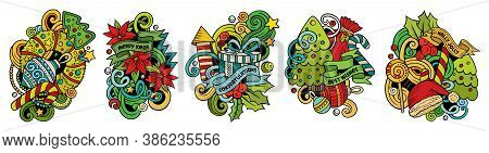 New Year Cartoon Vector Doodle Designs Set. Colorful Detailed Compositions With Lot Of Holidays Obje