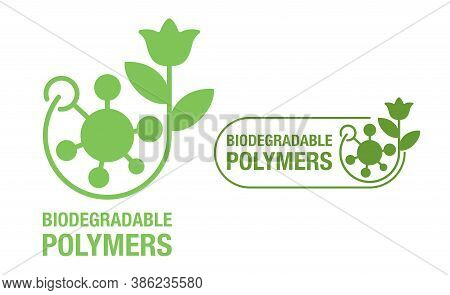 Biodegradable Polymers Green Emblem With Plastic Polymer Molecular Structure And Flower - Eco-friend