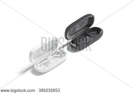 Blank Black And White Opened Case With Glasses Mockup, Isolated, 3d Rendering. Empty Protect Eye-gla