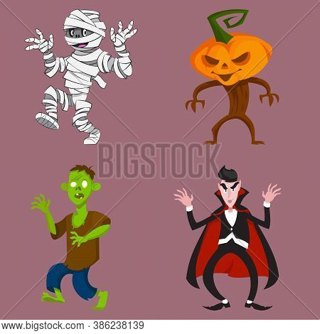 Set Of Monsters In Intimidating Poses. Halloween Characters In Cartoon Style.
