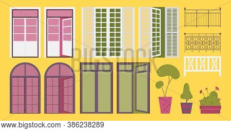 French Balcony Set. Flat Collection With Open And Closed Exterior Door Elements, Railing And Trees G