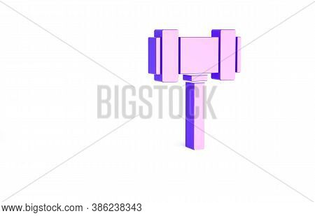 Purple Judge Gavel Icon Isolated On White Background. Gavel For Adjudication Of Sentences And Bills,
