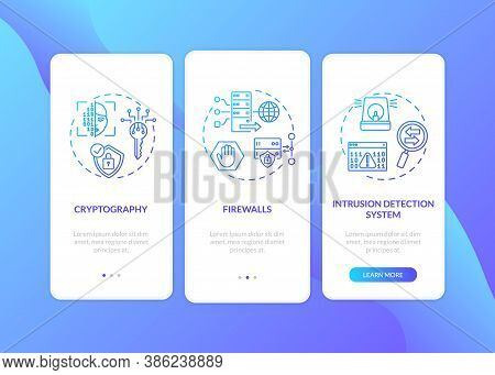 Cybersecurity Measures Onboarding Mobile App Page Screen With Concepts. Firewall, Intrusion Detectio