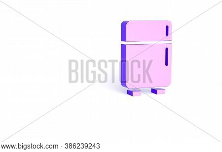 Purple Refrigerator Icon Isolated On White Background. Fridge Freezer Refrigerator. Household Tech A