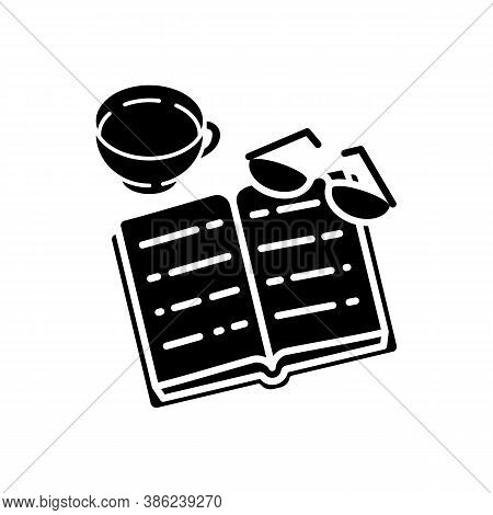 Books Reading Black Glyph Icon. Indoor Hobby. Education. Book, Glasses, Mug With Tea. Silhouette Sym