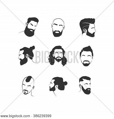 Set Of Stylized Male Faces With Hair And Beards. Vector Icons For Logo, Barbershop. Mens Hairstyles,