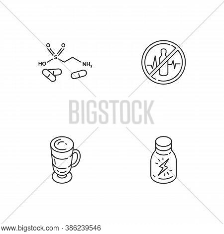 Energy Drinks Linear Icons Set. Taurine Formula. Health Warning. Coffee Cup. Shot For Stamina Boost.