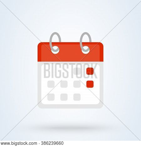 Calendar Or Date Sign Icon Or Logo. Mark The Date, Holiday, Important Day Concept. Date And Time, Fl