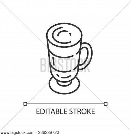 Frappe Linear Icon. Layered Drink In Glass Mug. Macchiato In Mug. Cafe Menu. Coffee With Foam. Thin