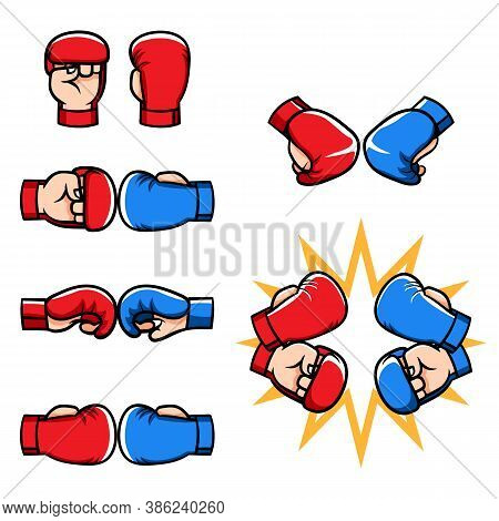 Sport Boxing Glove For Martial Arts Sparring Cartoon Illustration.