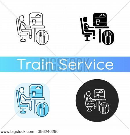 Dining Car Icon. Linear Black And Rgb Color Styles. Traveling With Comfort, Train Restaurant. Train