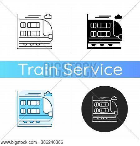 Bilevel Train Icon. Linear Black And Rgb Color Styles. Double Decker Rail Car. Modern Railway Transp