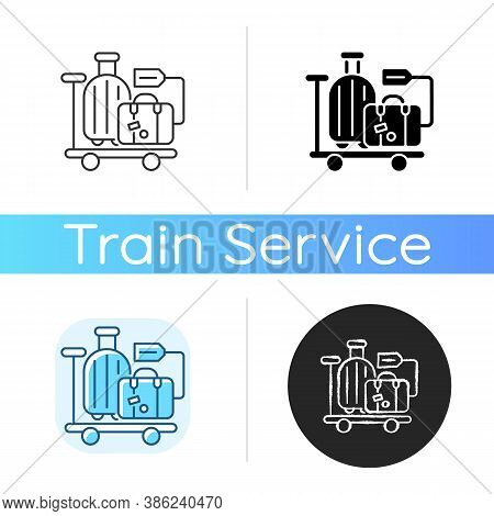Baggage Car Icon. Linear Black And Rgb Color Styles. Railway Transportation, Train Service. Holiday