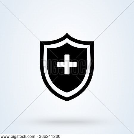 Immune System And Medical Shield Sign Icon Or Logo Line. Medical Health Protection Shield Cross Conc