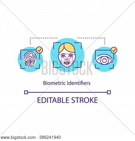 Biometric Identifiers Concept Icon. Face Recognition, Retinal Scan, Fingerprint. Scanning Innovative