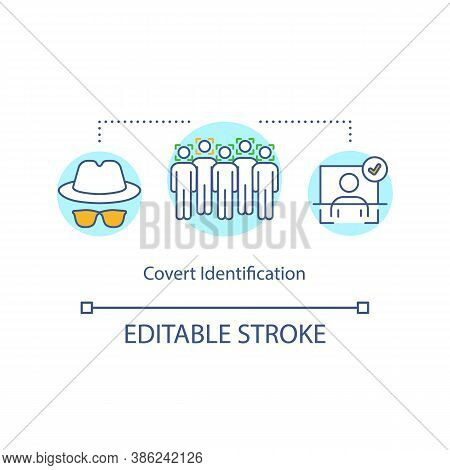 Covert Identification Concept Icon. Discernment, Definition, Face Recognition. Safety Scanning Syste