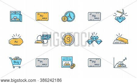 Precious Metals And Investment Rgb Color Icons Set. Business Investment. Mining Production. Unalloca