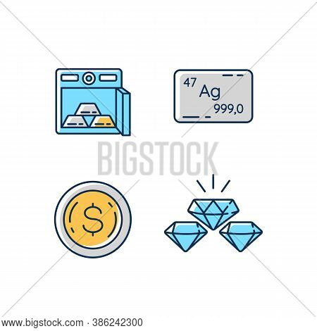 Precious Metals Gems Rgb Color Icons Set. Gold Bars In Safe. Bank Deposit For Financial Stability. S