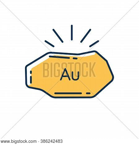 Golden Nugget Rgb Color Icon. Mineral Commodity For Trading. Gold Ore. Precious Metal. Metallurgy Pr