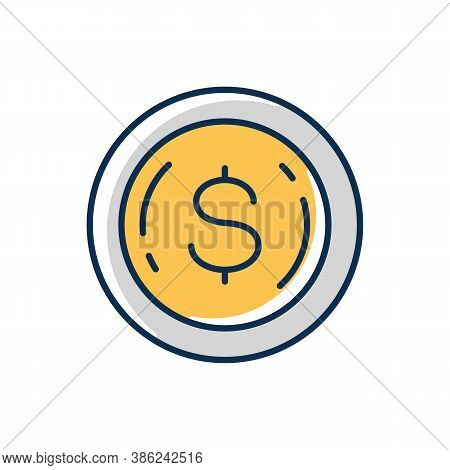 Commemorative Coin Rgb Color Icon. Precious Metal Investment. Dollar Sign On Penny. Financial Wealth