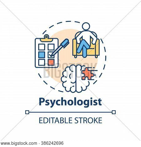 Psychologist Concept Icon. Medical Speciality Idea Thin Line Illustration. Abnormal Mental States St
