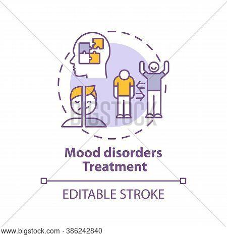 Mood Disorders Treatment Concept Icon. Bipolar Disorder Diagnostics Idea Thin Line Illustration. Ant