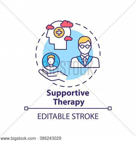 Supportive Therapy Concept Icon. Physiological Well-being Improvement Idea Thin Line Illustration. P