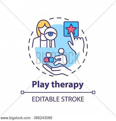Play Therapy Concept Icon. Children Mental Health Treatment Idea Thin Line Illustration. Brain Devel