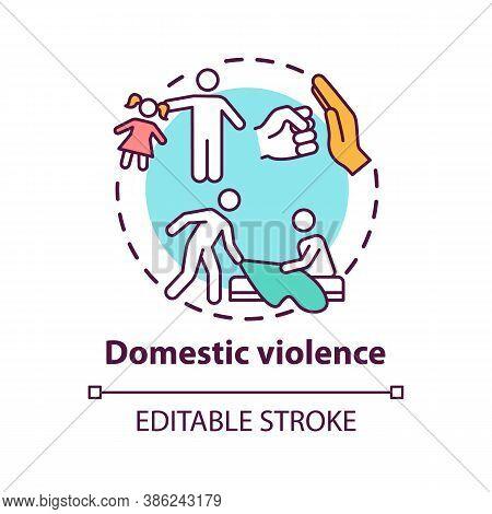Domestic Violence Concept Icon. Domestically Violent Relationship Idea Thin Line Illustration. Opini