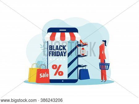 Black Friday Shop, Woman Buying On Super Discount ,shop Online Service, Promo Purchase Marketing