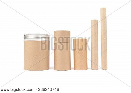 Set Of Different Recyclable Paper Tubes With Paper Cap And Metal Lids, Cardboard Container For Packa