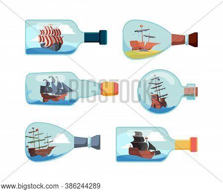 Ship In Bottles. Decorative Marine Souvenir Bottles Boat Vector Illustrations. Collection Of Bottle