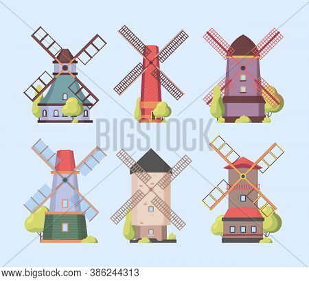 Windmill. Holland Dutch Authentic Constructions Windmills Vector Collection Set. Farm Construction W
