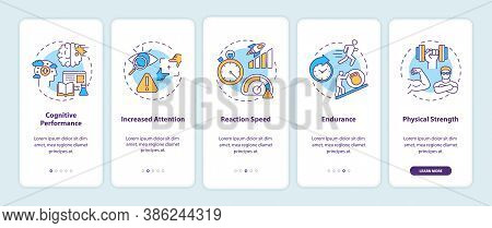 Energy Drinks Effects Onboarding Mobile App Page Screen With Concepts. Endurance, Attention, Reactio