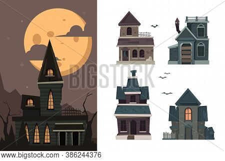 Scary Houses. Spooky Buildings Outdoor Village Haunted Horror Constructions For Halloween Party Vect