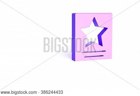 Purple Hollywood Walk Of Fame Star On Celebrity Boulevard Icon Isolated On White Background. Famous