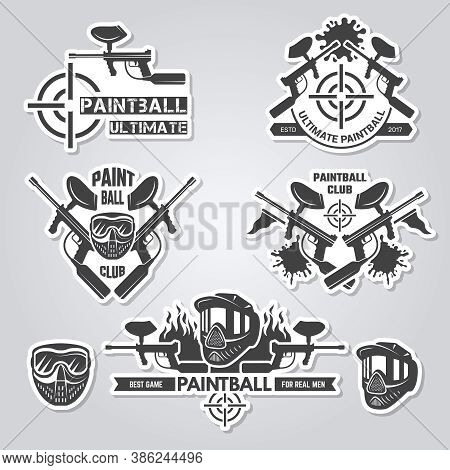 Paintball Labels. Sport Badges Active Games With Gun And Paint Shooter Team Labels Vector Logos Coll