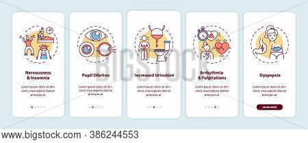 Caffeine Overdose Symptoms Onboarding Mobile App Page Screen With Concepts. Insomnia, Pupil Dilation