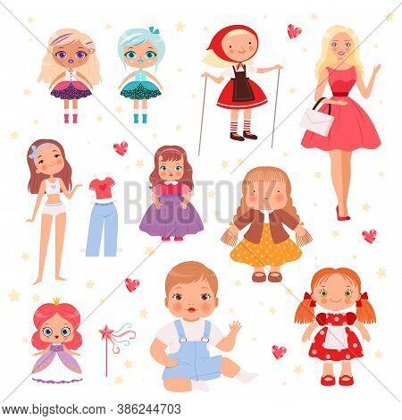 Dolls Toys. Cute Playing Model For Kids Joyful Toys Vector Set. Illustration Doll For Kids, Cartoon