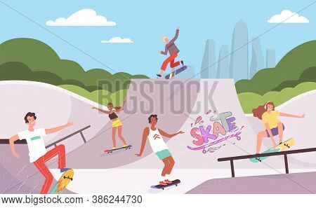 Extreme Park. Outdoor Activities Of Skateboarders Riders In Action Poses Jump Ramp Teenagers Hipster