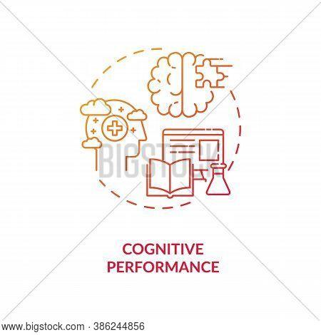 Cognitive Performance Concept Icon. Energy Drinks Effects Idea Thin Line Illustration. Peak Brain Pe