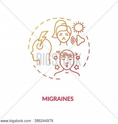 Migraines Concept Icon. Headache Trigger Idea Thin Line Illustration. Prevalent Neurological Disease