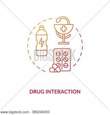 Drug Interaction Concept Icon. Medication Taking Idea Thin Line Illustration. Energetics Danger. Dru