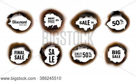 Burned Hole. Realistic Sale And Discount Banners With Charred Edges Vector Illustration. Discount Ad