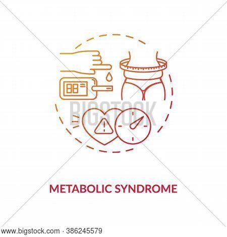 Metabolic Syndrome Concept Icon. Heart Disease Stroke Risk Idea Thin Line Illustration. Abdominal Ob
