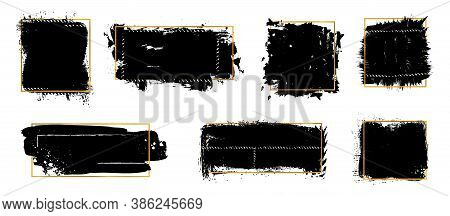 Ink Brush Blots. Golden Frames, Black Grunge Textures. Isolated Dirty Elements With Gold Ornament Ve