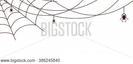 Spider Web Banner. Cobweb With Spiders, Isolated Horrible Decorative Ornament. Halloween Vector Back