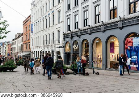 Oslo, Norway - August 10, 2019: View Of Karl Johans Gate Street In Center Of Oslo.