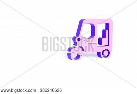 Purple Taxi Tuk Tuk Icon Isolated On White Background. Indian Auto Rickshaw Concept. Delhi Auto. Min