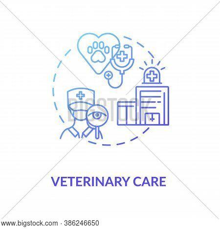 Veterinary Care Concept Icon. Pet Services. Animal Treatment Tips. Little Friend Care Vet Center. Ve